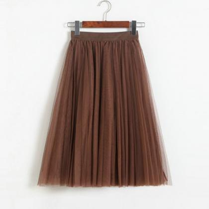 Pleated Midi Skirt Summer Ladies Ca..