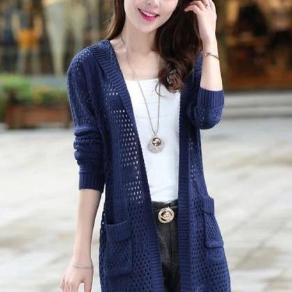 Fshion Autumn Hollow Knit Loose Swe..