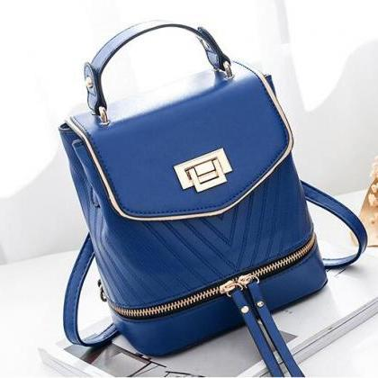 Women Leather Backpack Zipper Mini ..
