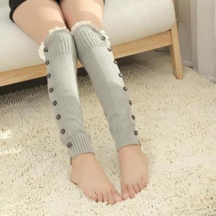 Women High Knit Flat Warmer Knee Le..