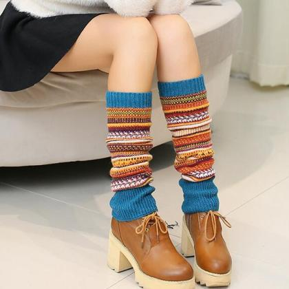 Women Ladies Winter Long Socks Knit..