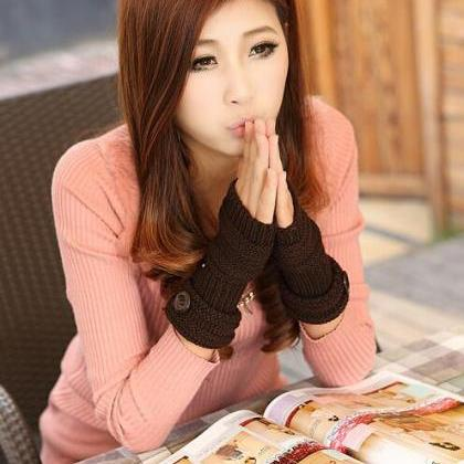 Cute Women Arm Warmer Fingerless Kn..
