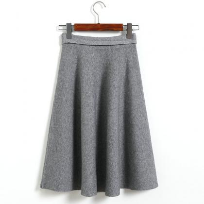 High Waist Solid Bow A Line Skirt -..