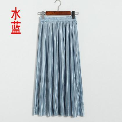 New Long Autumn Women Solid Pleated..