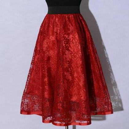 New Hollow Lace A Line Skirt - Red