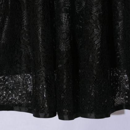 New Hollow Lace A Line Skirt - Blac..