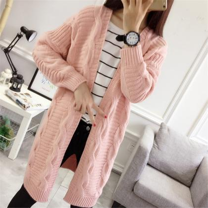 Pink Color Autumn Women Long Cardig..