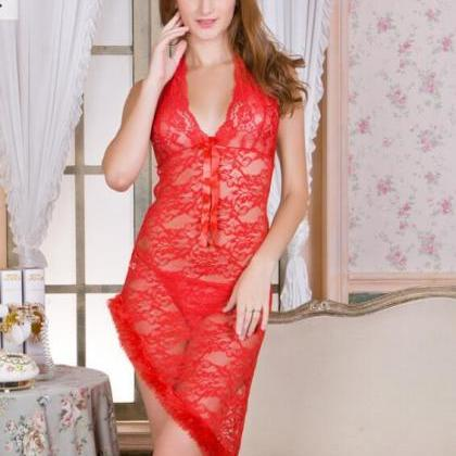 Sexy Halter Lingerie Lace Dress Sle..