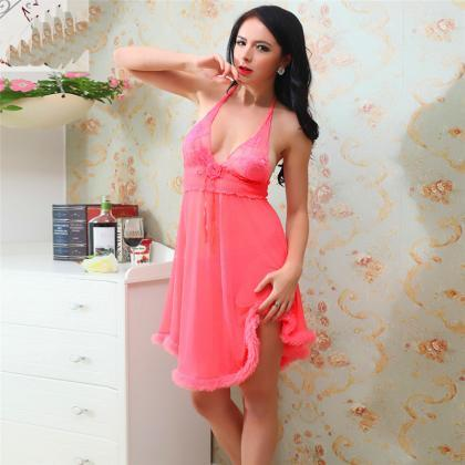 Sexy V Neck Sleepwear Nightdress