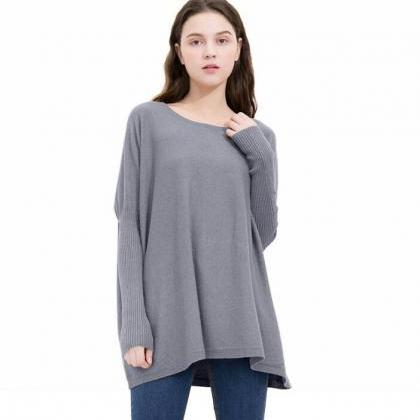 Grey Knit Bateau Neck Long Sleeves ..