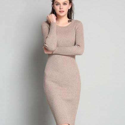 Knitted Crew Neck Long Sleeves Knee..