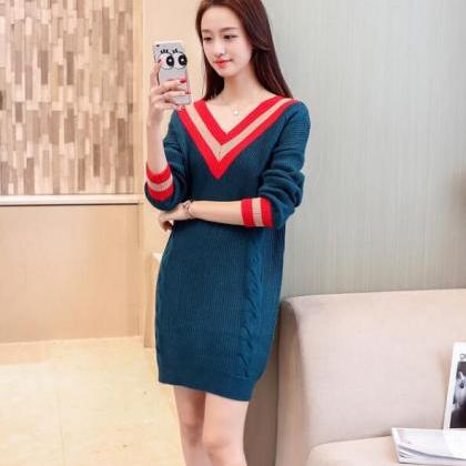 V Neck Knitted Pullover Long Sweate..