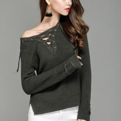 Sexy Knitting Pullover Fashion Holl..