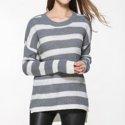 Grey and White Knit Crew Neck Long ..