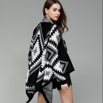 Geometric Pattern Warm Cardigan Swe..