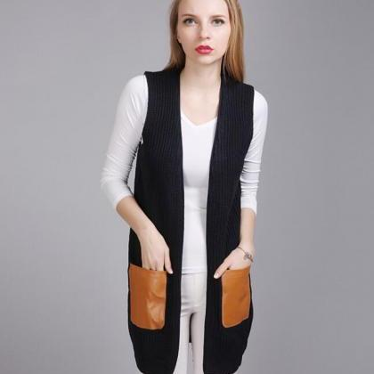 Fashion Leather Pocket Sleeveless K..
