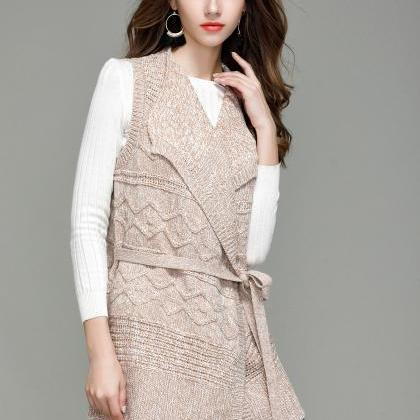 Fashion Long Knit Vest Cardigan - B..