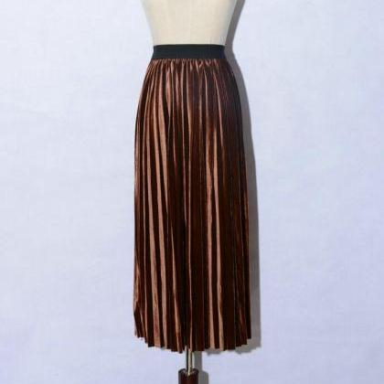 women Retro Pleated Skirt High Wais..