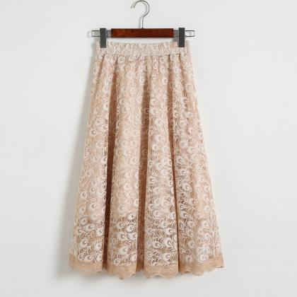 Women High Waisted Floral Lace Plea..