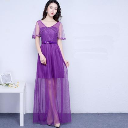 New Purple Color V Neck Long Brides..