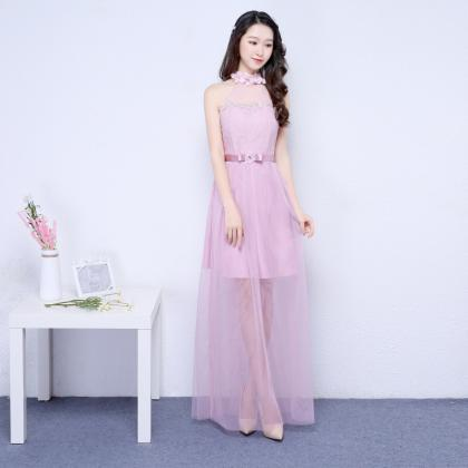 New Pink Color Halter Long Bridesma..