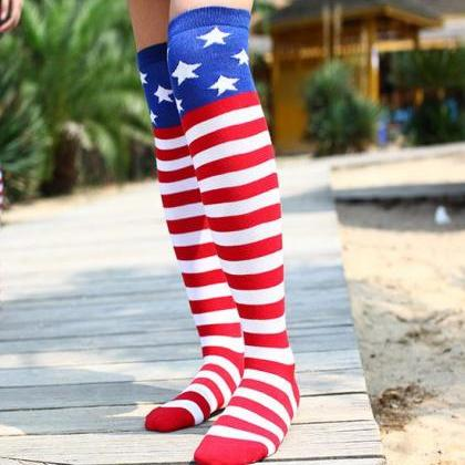 Striped And Star Thigh High Socks