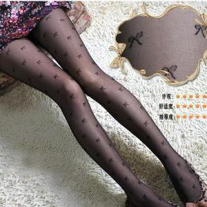 Cute Bow Pattern Print Stockings/ P..