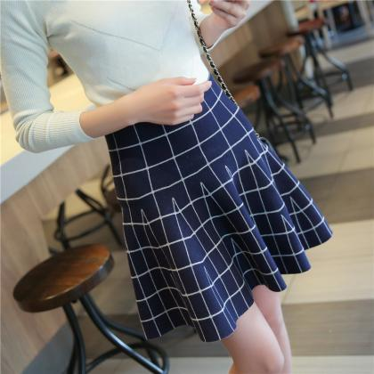 Plaid Skirts High Waist Casual Wome..