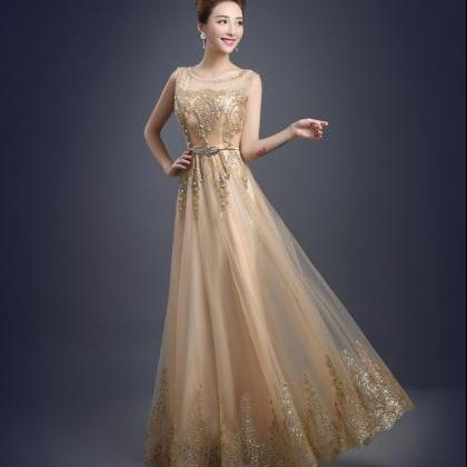 Tulle Lace Evening Dress Long Beadi..