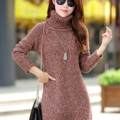 Fashion Warm Loose Long Sleeve Turtle Neck Sweater Dress on Luulla