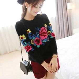 Women Printing Retro Sweater