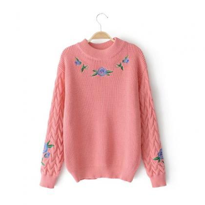 Retro Rose Flower Embroidery Sweate..