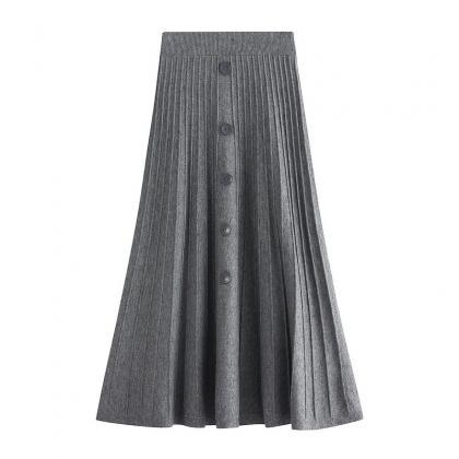 New Knitted Medium And Long Skirt -..
