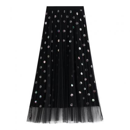 Sweet Dot Women Gauze Skirt With Se..