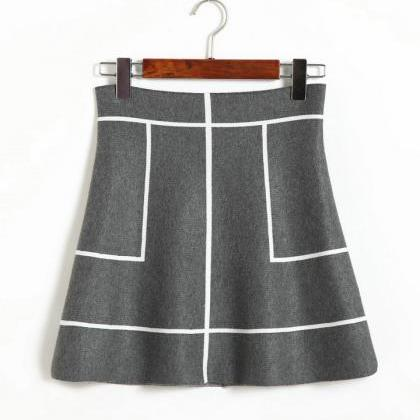 New Sweet A-line Knit Thin Skirt - ..