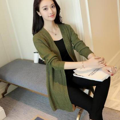 Green Long Knitted Cardigan Sweater