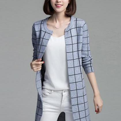 New women plaid sweater lady casual..