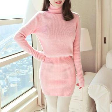 Pink Turtle Neck Knitted Sweater Dr..