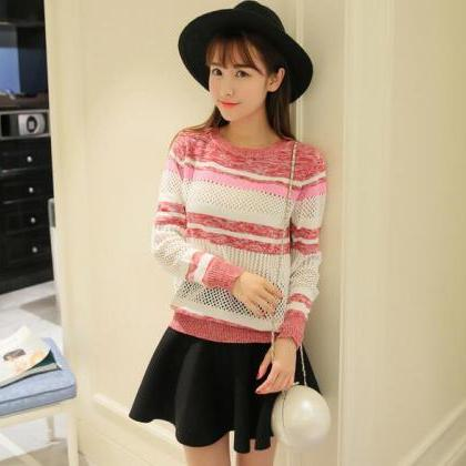 Sweet Woman Stripe Knit Hollow Swea..