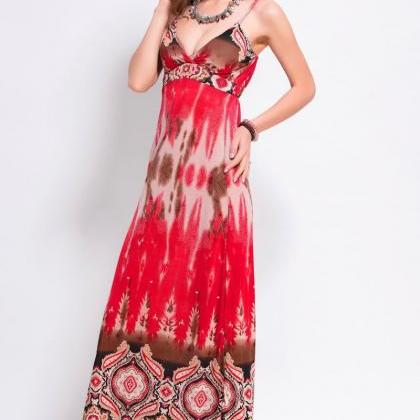 Red Summer Women Strap Printed Sexy..