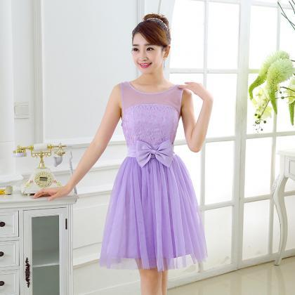 Sweet Bow Mini Bridesmaid Prom Dres..