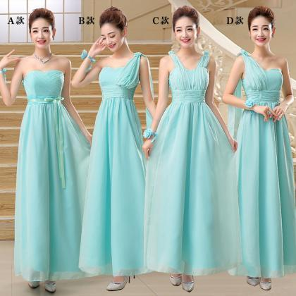 New Chiffon Pleat Long Evening Dres..