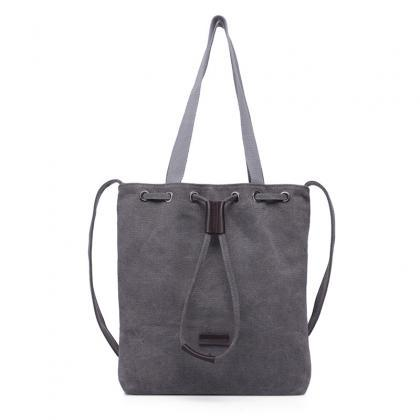 Grey Canvas Drawstring Tote Bag wit..