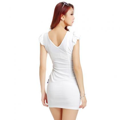 New Deep V Neck Bow Sexy Party Dres..