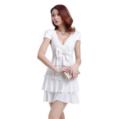 Women Sexy Bow Summer Party Dress C..