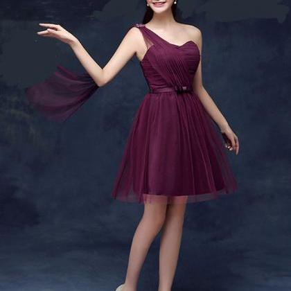 Sweetheart One Shoulder Wine Red Co..
