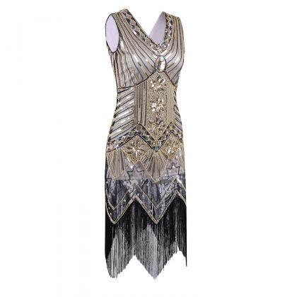 Sleeveless V Neck Sequin Short Tass..