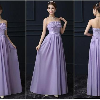 Purple Chiffon Off Shoulder Long Br..
