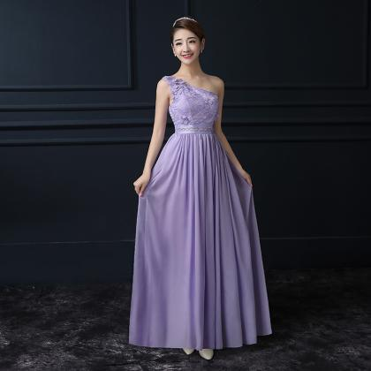 Purple Chiffon One Shoulder Long Br..