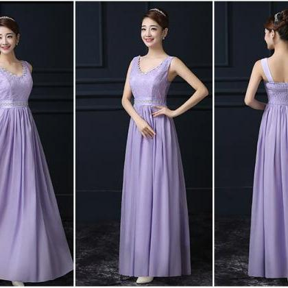 Purple Chiffon V Neck Sleeveless Lo..